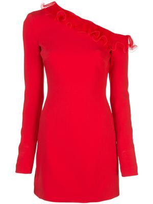 Long Sleeve Ruffle Trim Asymmetrical Shoulder Dress