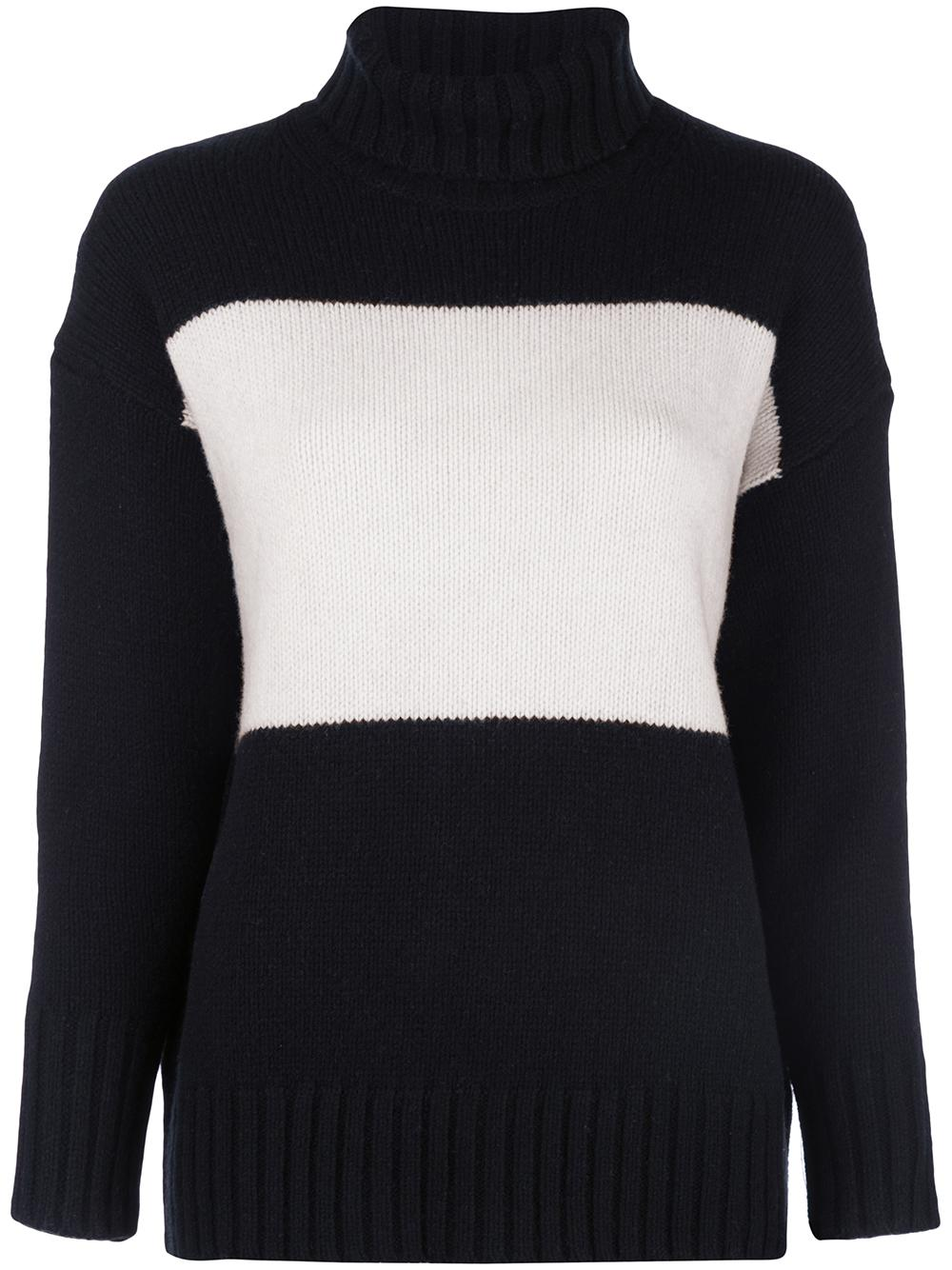 Long Sleeve T-Neck Color Block Sweater