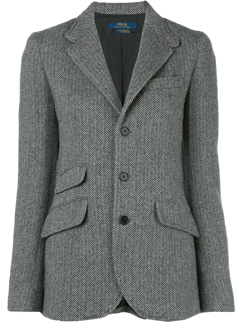 Herringbone Single Button Blazer