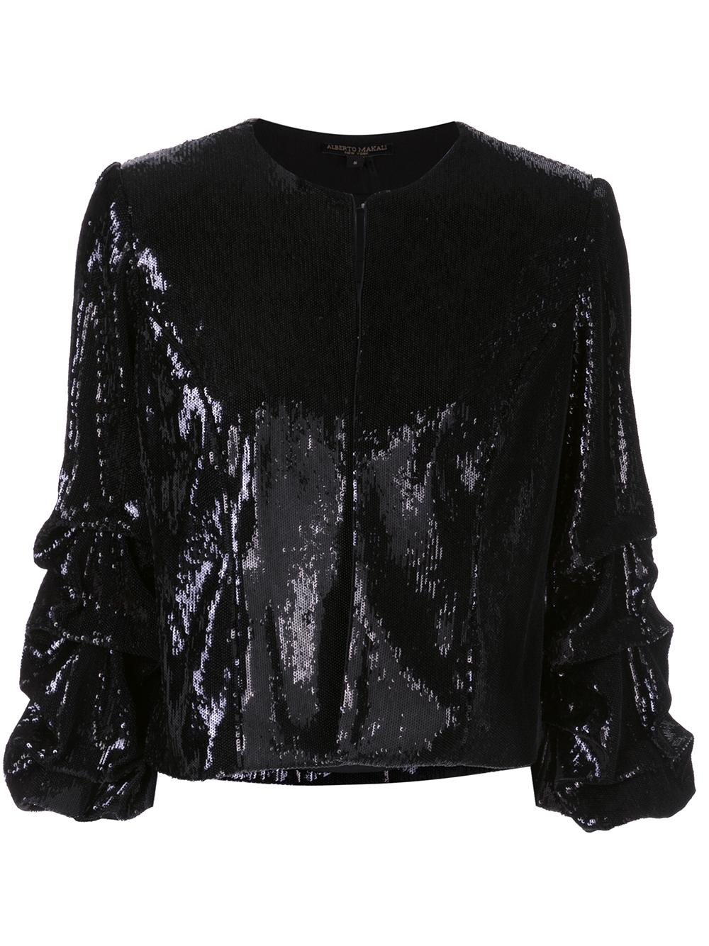 Sequin Jacket With Rouched Sleeves
