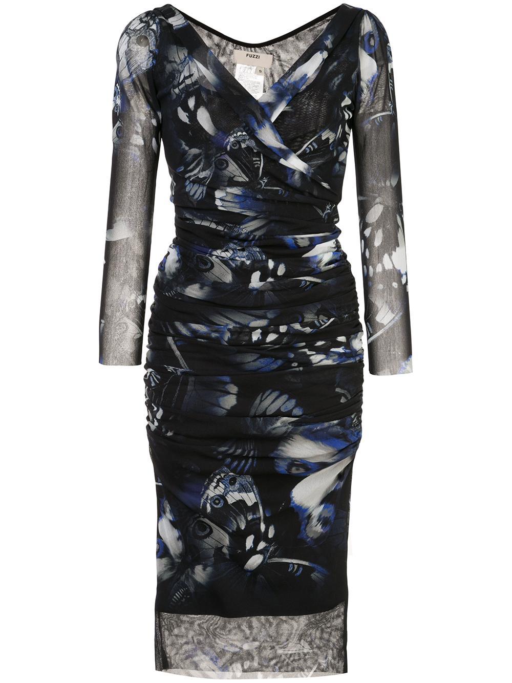 3/4 Sleeve Faux Wrap Butterfly Print Dress Item # F91571