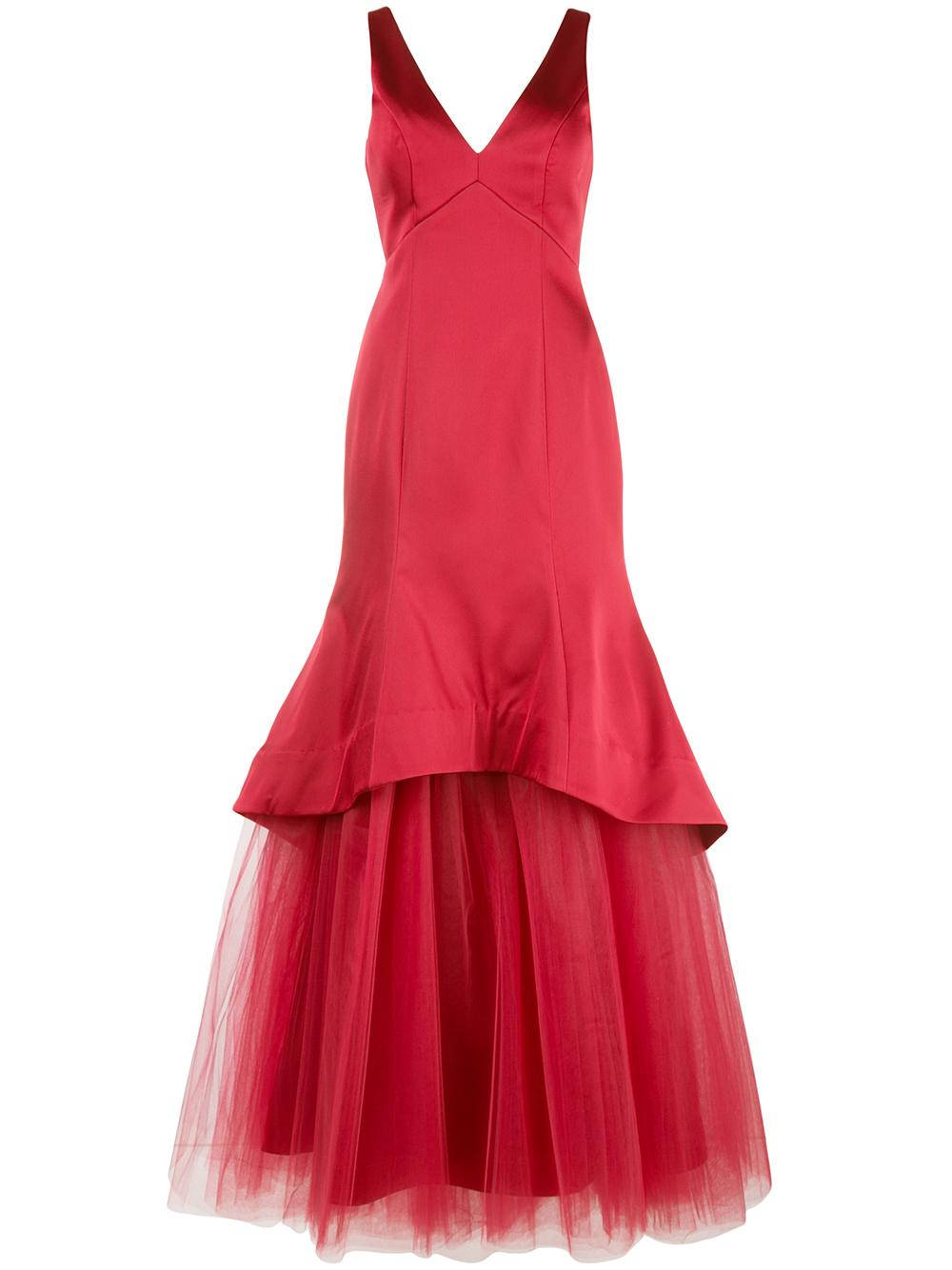 Sleeveless Gown With Tulle Skirt