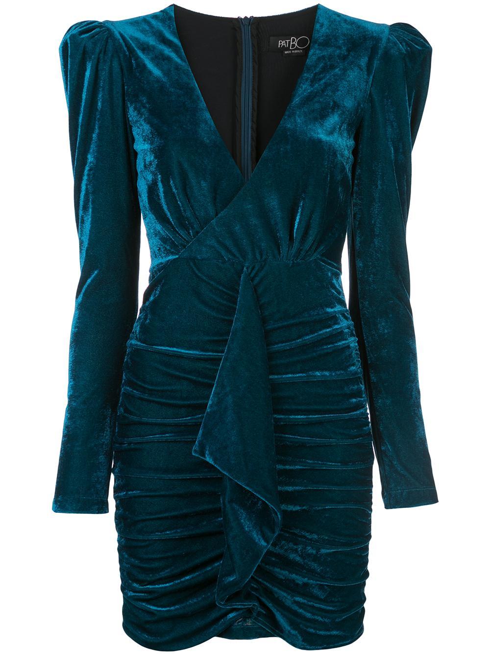 Velvet Ruched Mini Dress Item # VES2002CUS