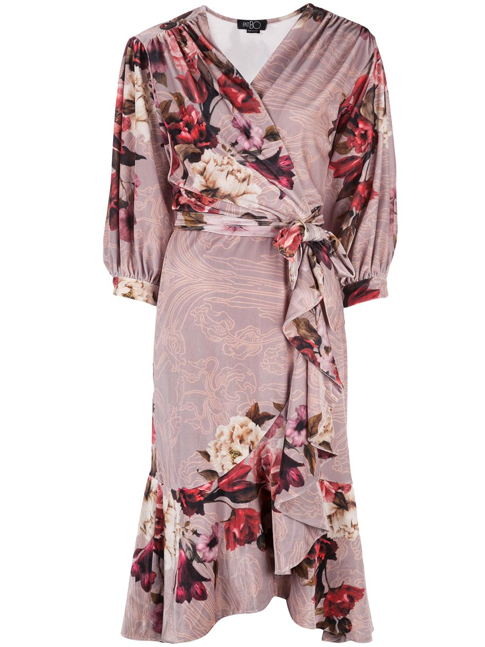 Printed Velvet Midi Wrap Dress Item # VES2168CUS