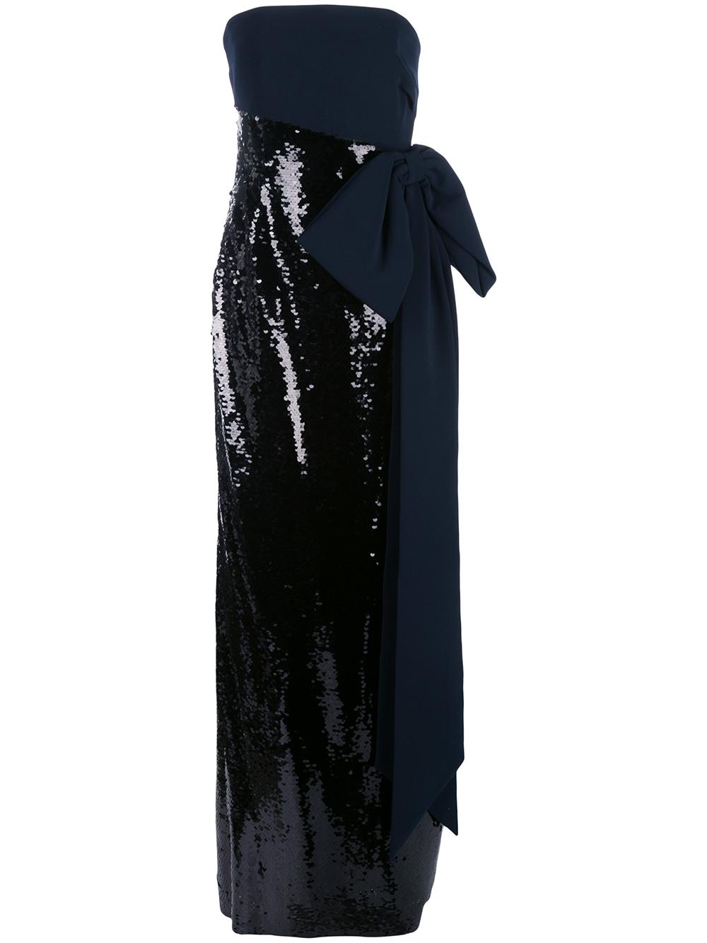 Strapless Stretch Crepe Sequin Gown Item # F29G03