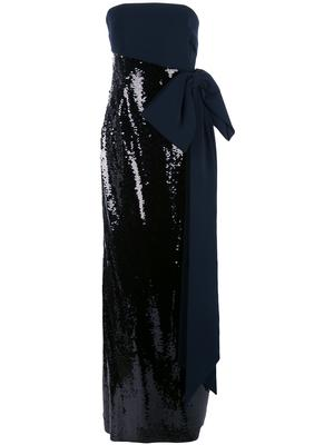Strapless Stretch Crepe Sequin Gown