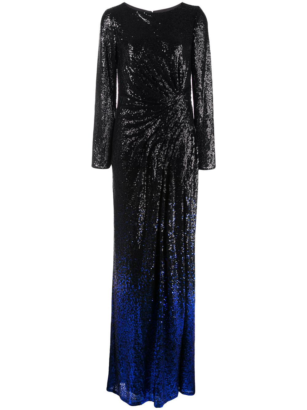 Long Sleeve Sequin Ombre Gown With Slit