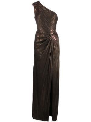 One Shoulder Side Ruched Gown