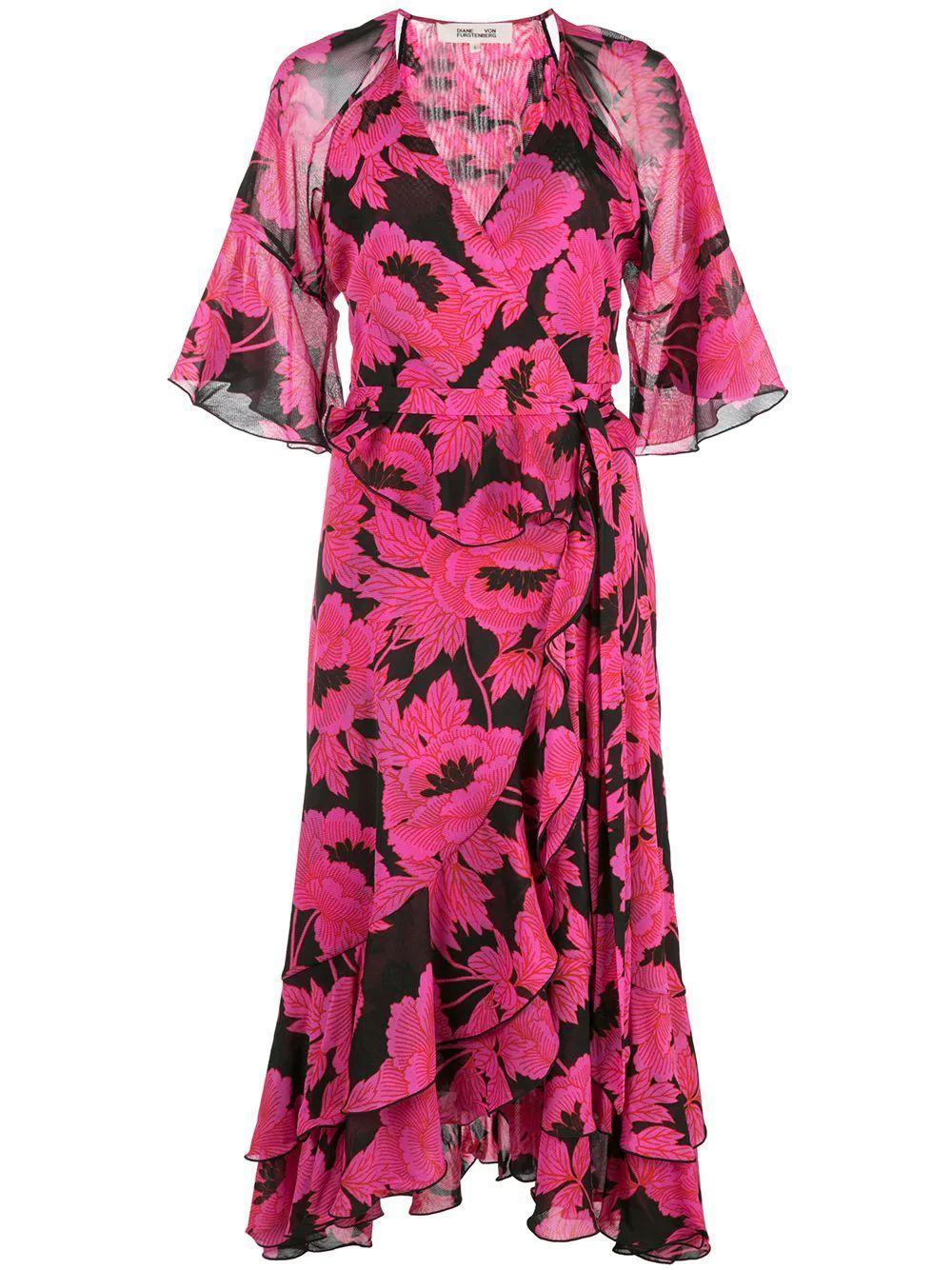 Zio Ruffle Midi Wrap Dress Item # 13418DVF