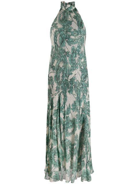 Leeann Ruffle Neck Maxi Dress Item # 13458DVF