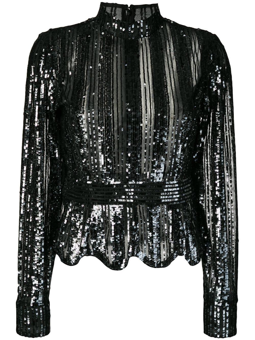 Long Sleeve Mock Neck Sequin Top Item # TF93717SQ