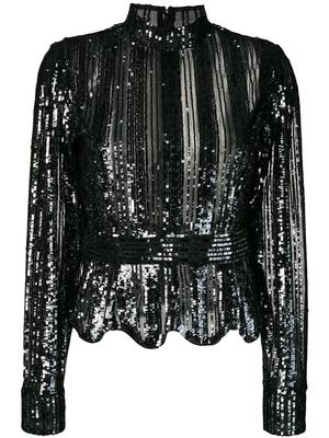 Long Sleeve Mock Neck Sequin Top