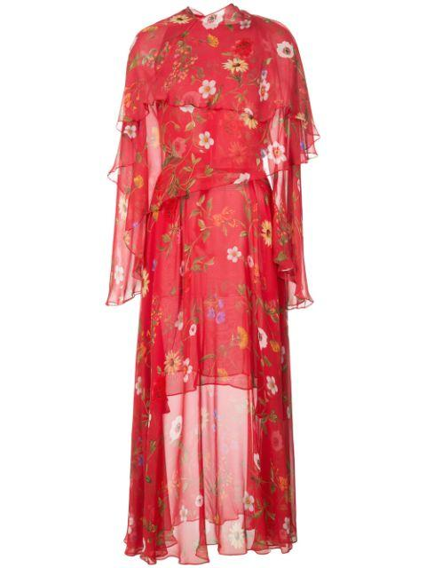 Floral Midi Dress With Draping Item # 20RN251MXC