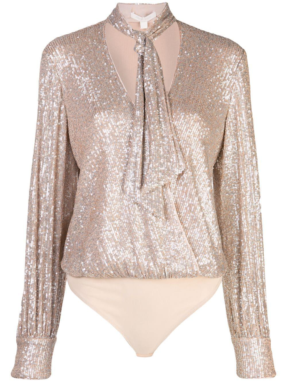 Long Sleeve Sequin Embroidered Cross Front Bodysuit Item # 120-8004-S