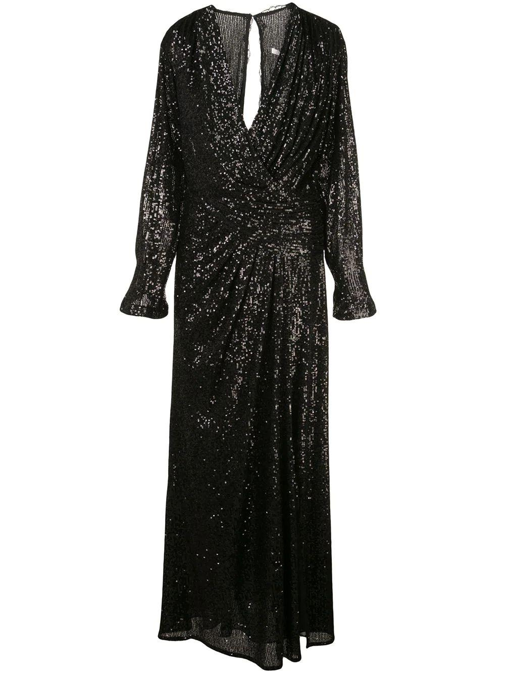 Long Sleeve Sequin Embroidered Draped Front Gown