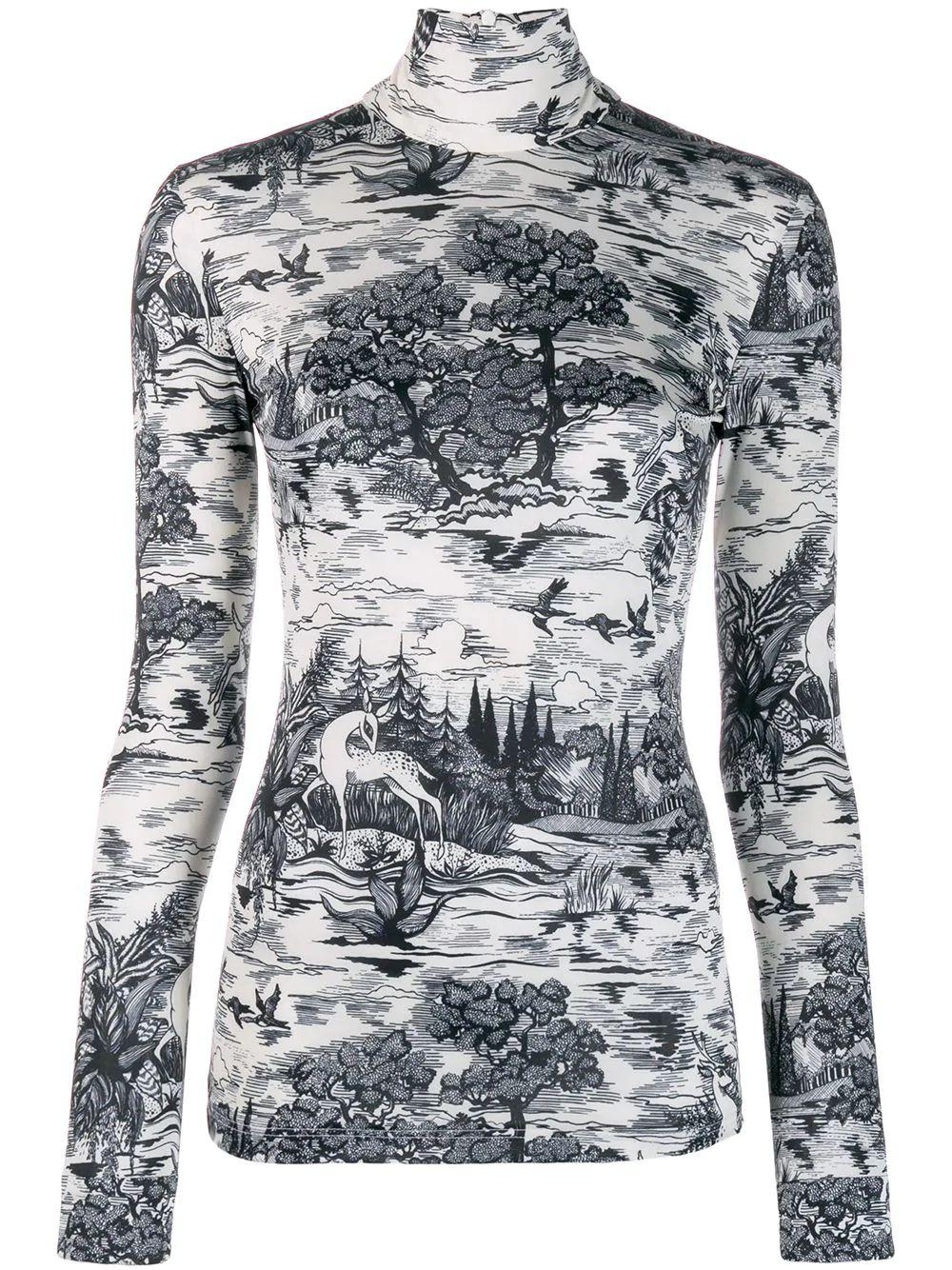 Long Sleeve Forest Printed T-Neck Top