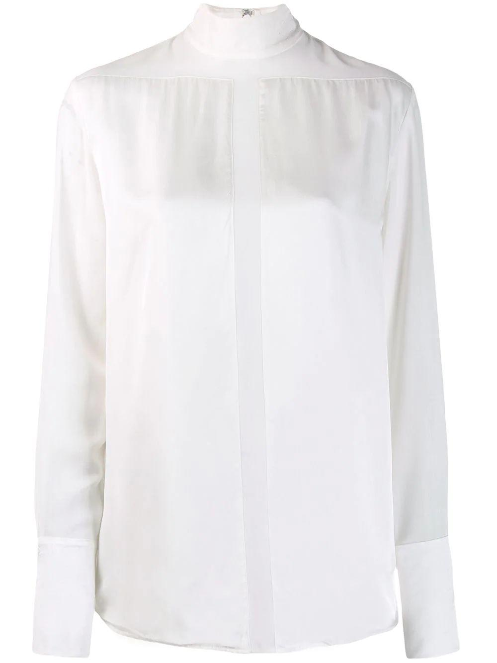 Long Sleeve Satin Sheer Panel Blouse Item # 2419WTP000182A