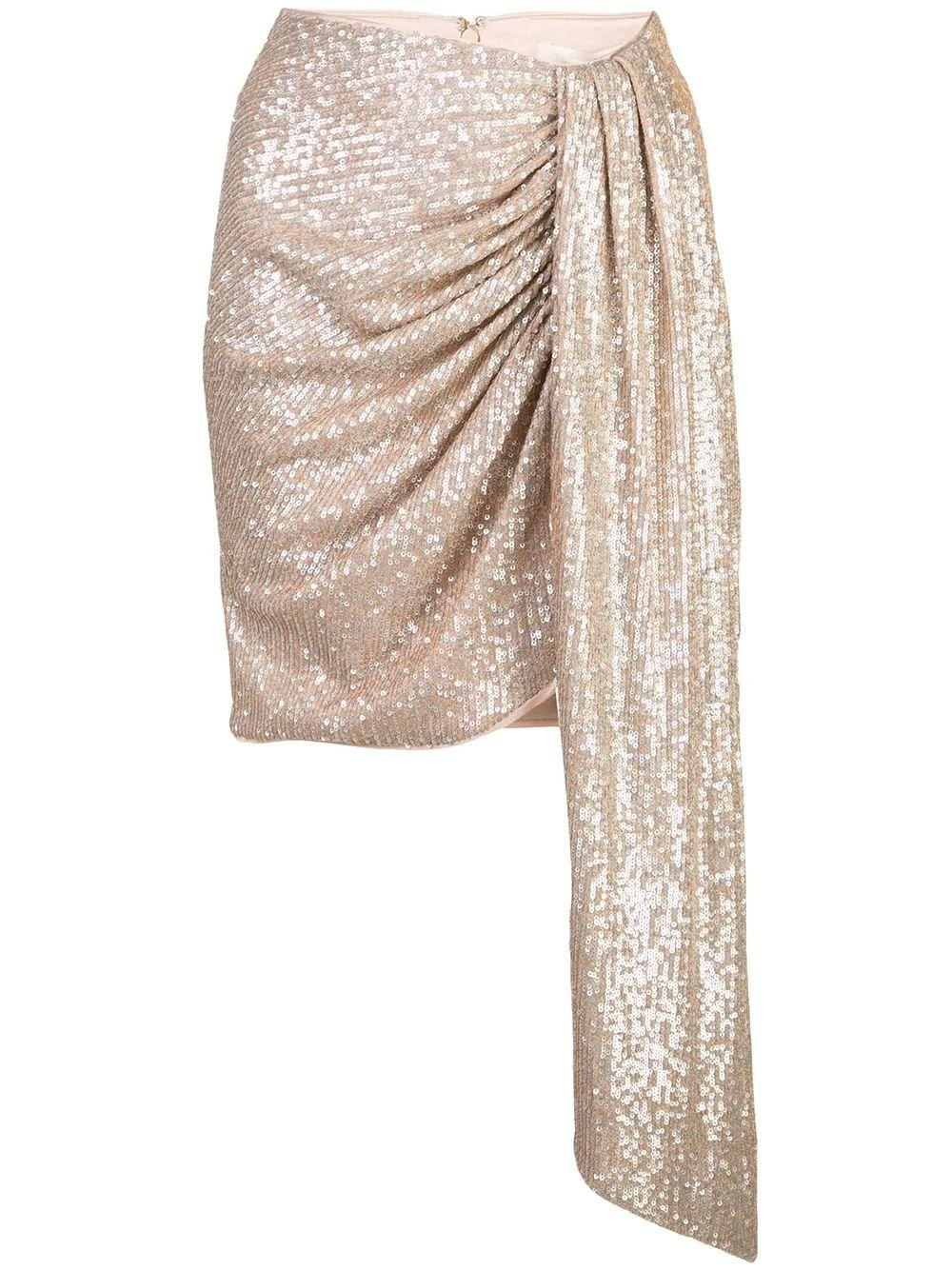 Sequin Embroidered Mini Drape Front Skirt