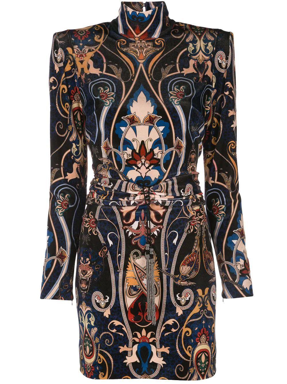 Long Sleeve Printed Velvet Short Dress With Lace Back