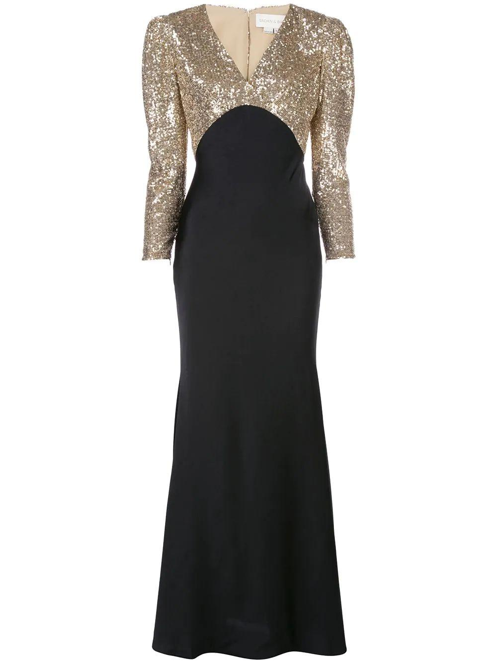 Louisa Lounging Sequin Top V Neck Gown Item # F29G01