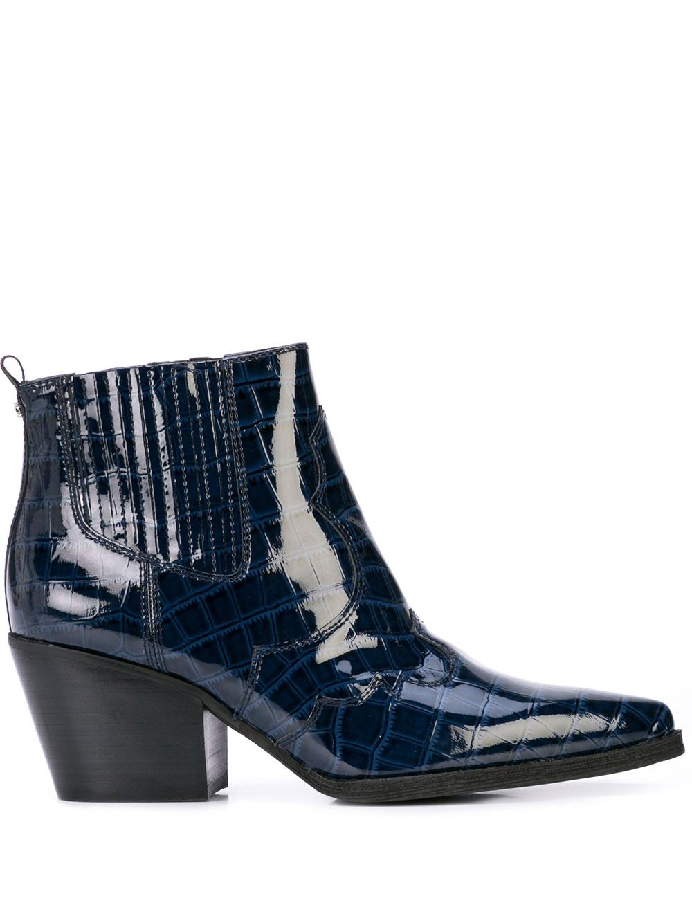 Crocodile Patent Leather Short Boot