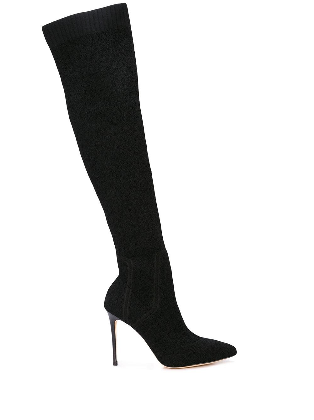 Suede OTK Boot With Stiletto Heel