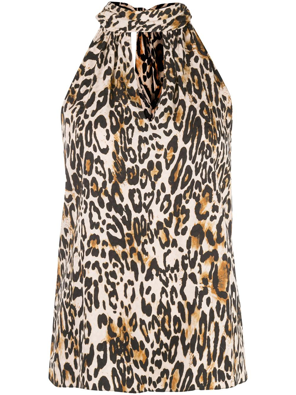 Emma Leopard Tie Neck Top
