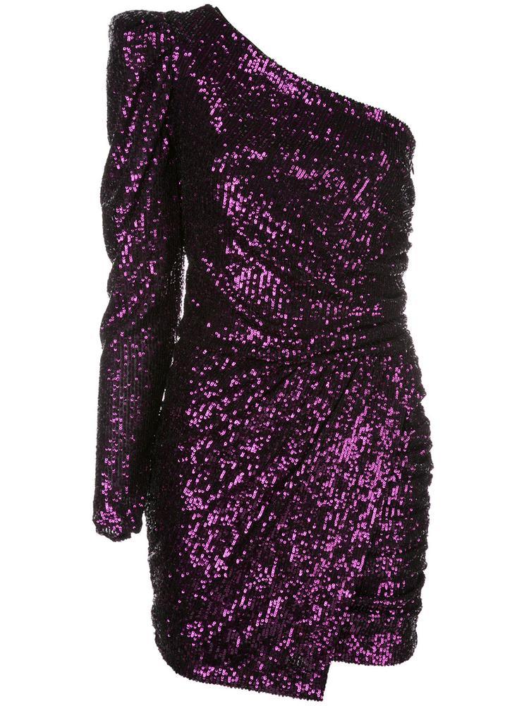 Plain Sequin One Shoulder Draped Mini Dress