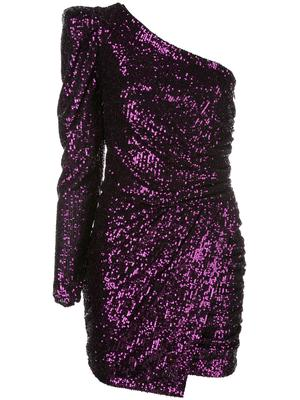 Plain Sequin One Shoulder Draped Mini Dress