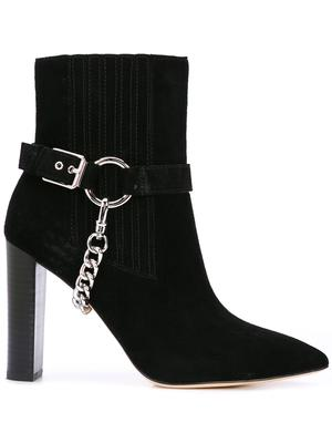 Suede Pointed Toe High Heel Bootie With Buckle