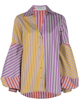 V-Neck Stripe Blouse With Full Patchwork Sleeve