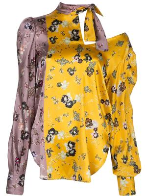 Long Sleeve Floral Blouse With Neck Tie