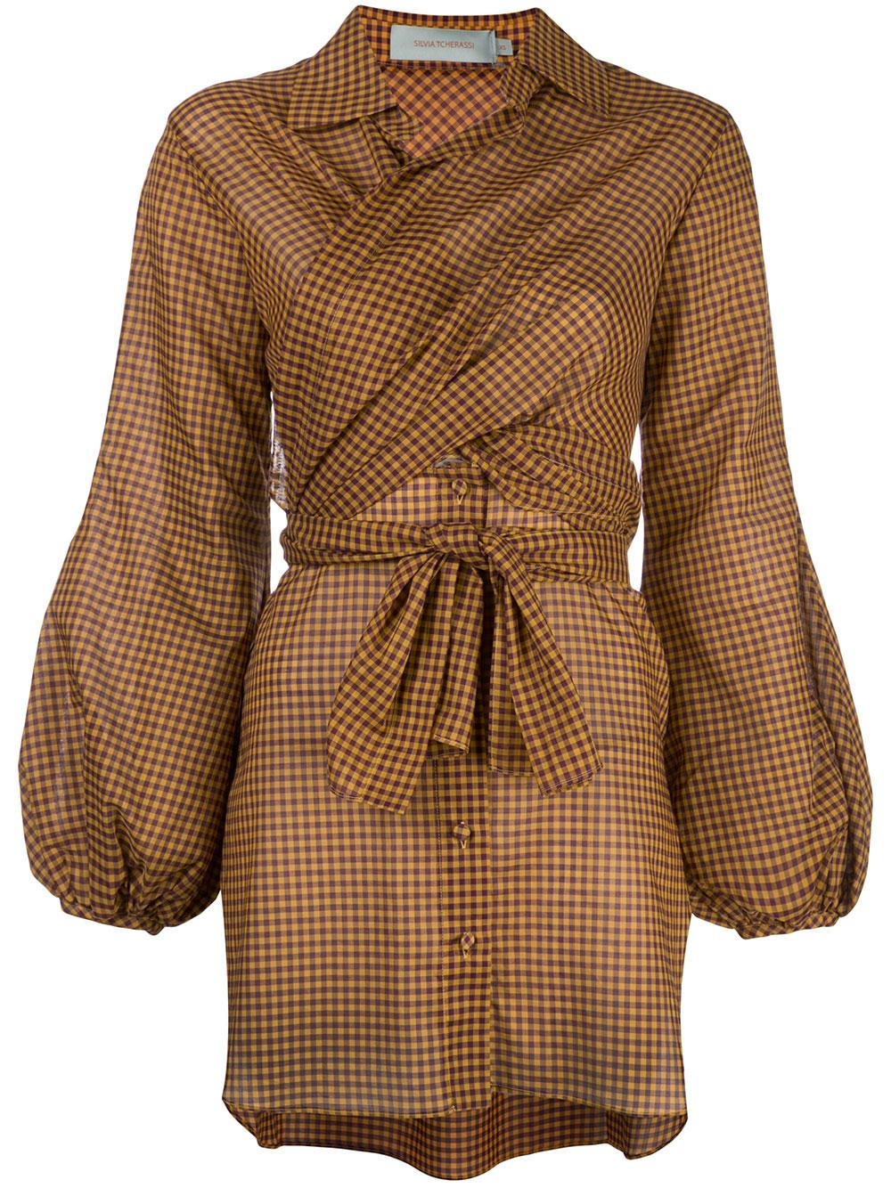 Full Sleeve Check Blouse With Waist Tie
