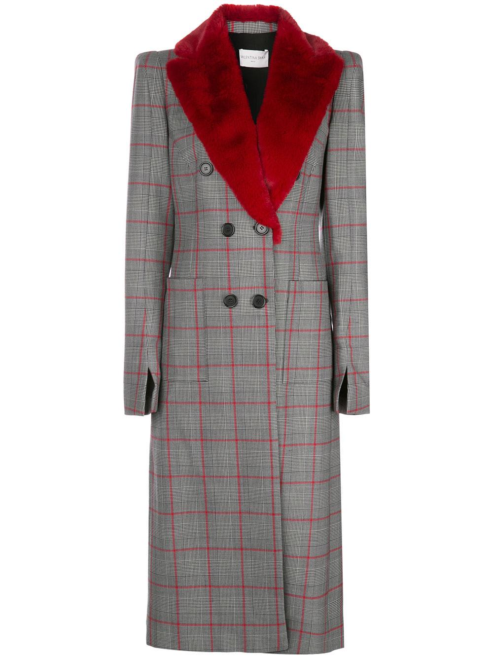 Gigi Plaid Coat With Fur Trim