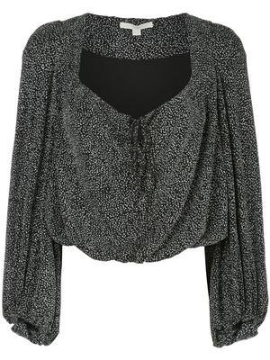 Long Sleeve Glitter Jersey Pleat Front Top