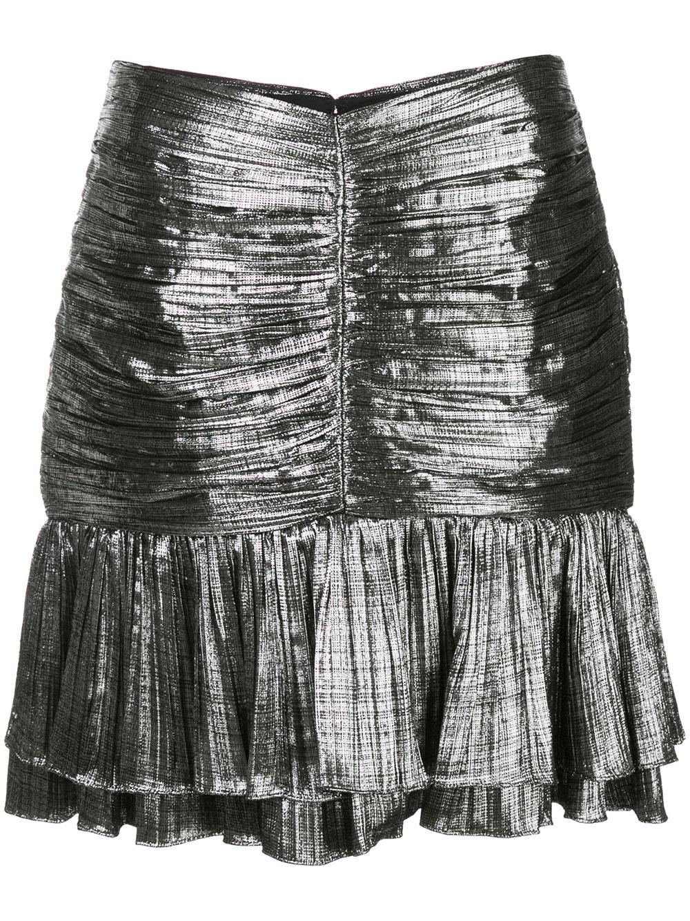 Metal Plisse Ruffle Mini Skirt Item # 120-3008-M