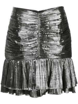 Metal Plisse Ruffle Mini Skirt