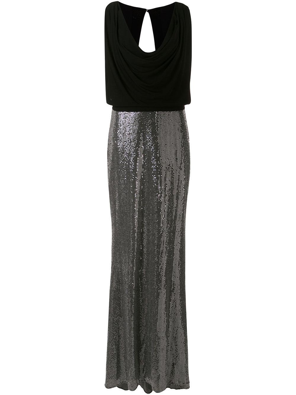 Blouson Bodice Cowl Neck Gown Item # EG2842