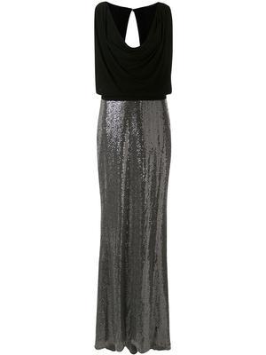 Blouson Bodice Cowl Neck Gown