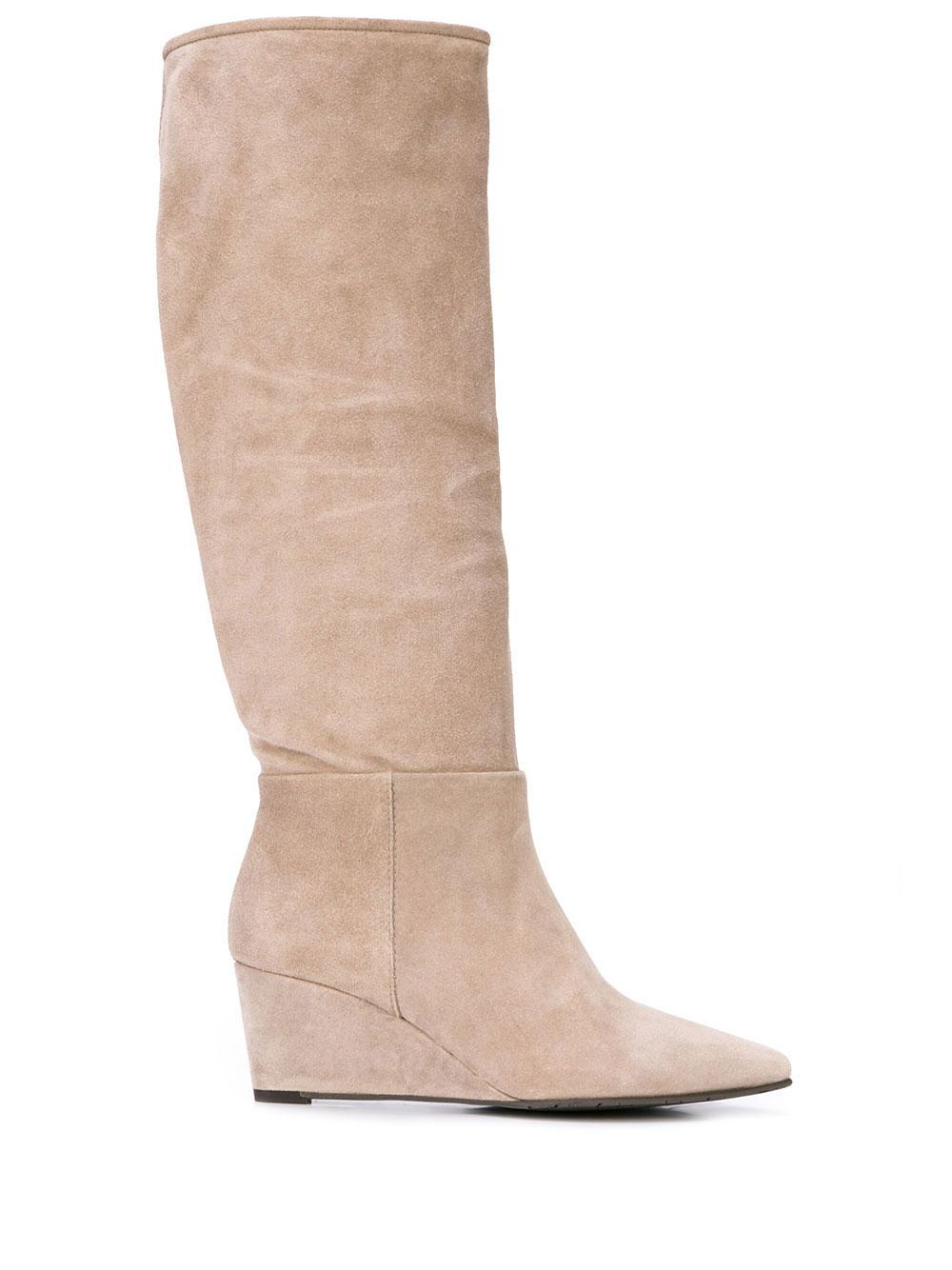 Velour Tall Wedge Boot