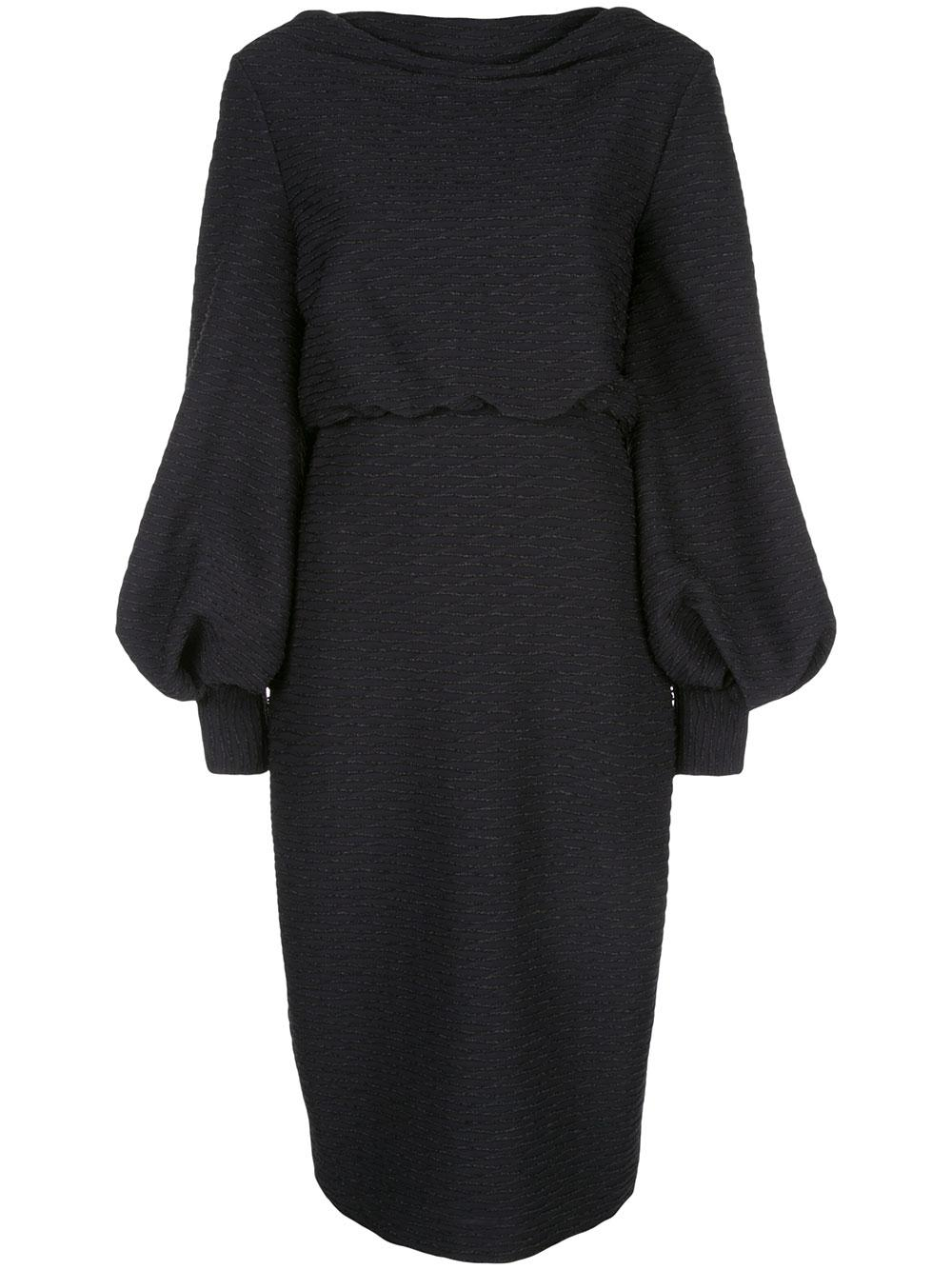 Blouson Sleeve Wavy Lurex Knit Dress Item # SC2446
