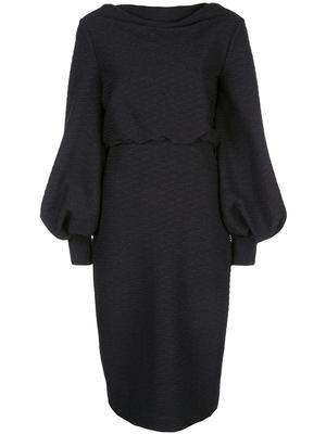 Blouson Sleeve Wavy Lurex Knit Dress