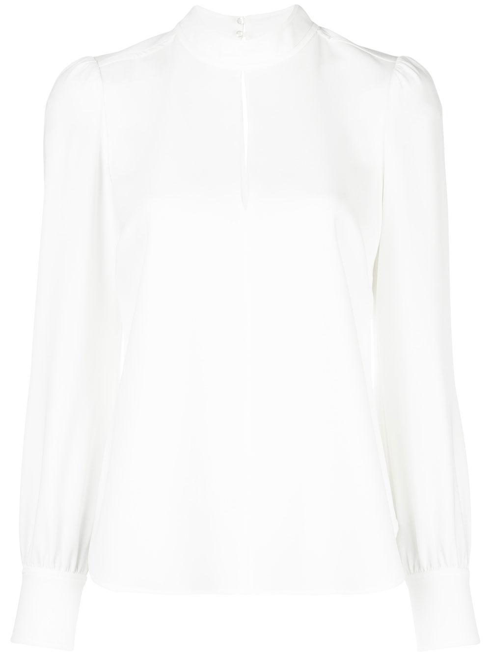 Marina Mock Neck Keyhole Long Sleeve Cuff Blouse Item # 5TOPS00634