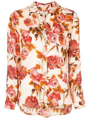 Nina Long Sleeve Rose Print Blouse