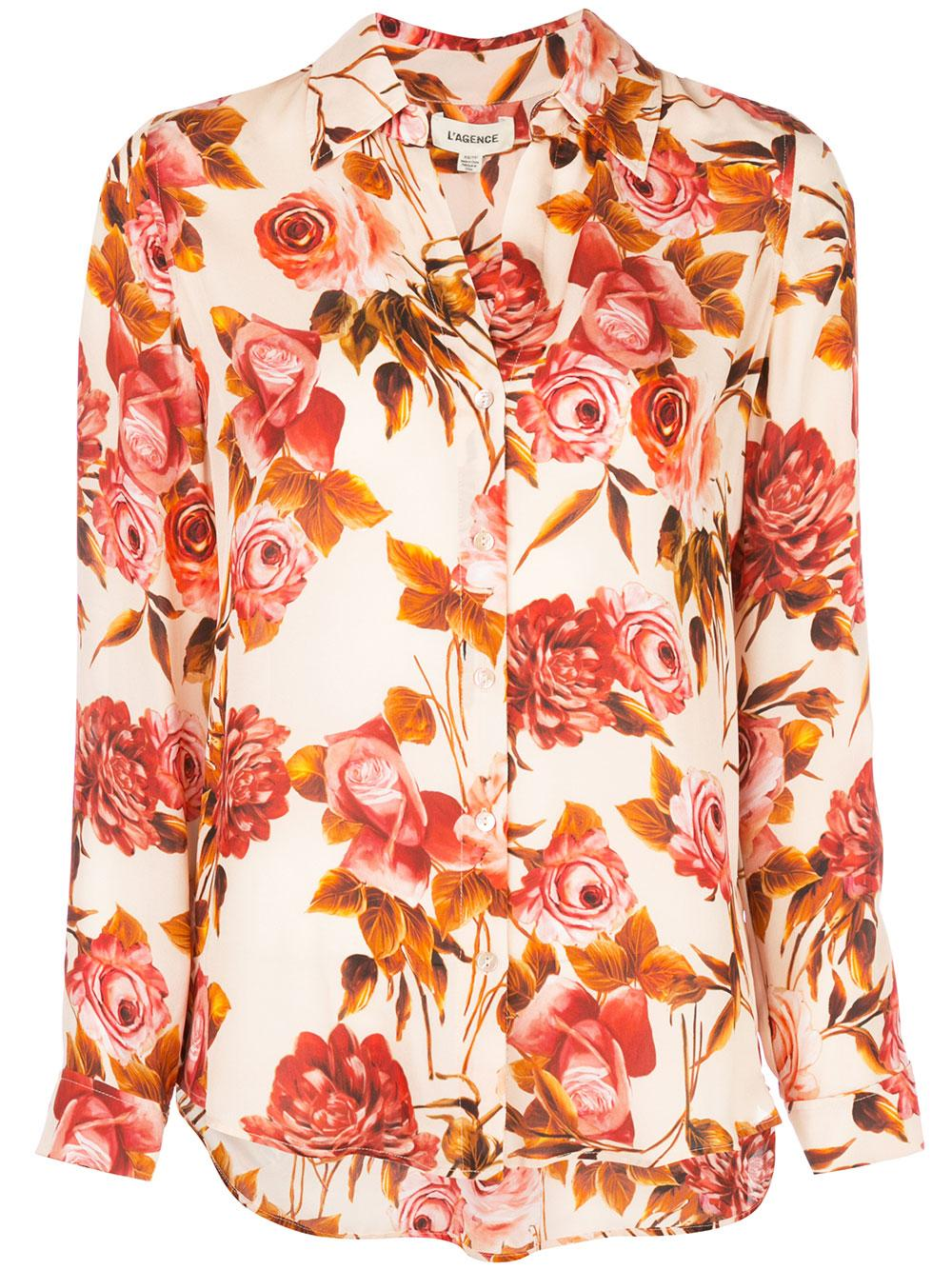 Nina Long Sleeve Rose Print Blouse
