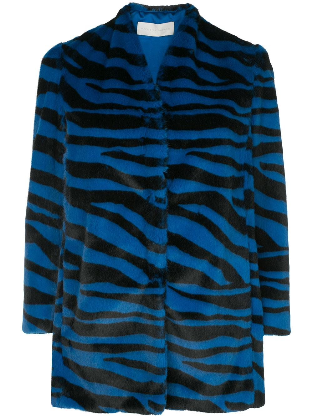 Faux Fur Zebra Car Coat