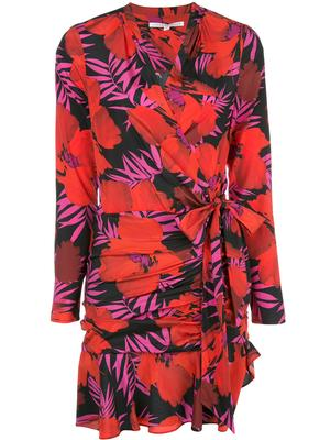 Lorina Long Sleeve Palm Print Dress