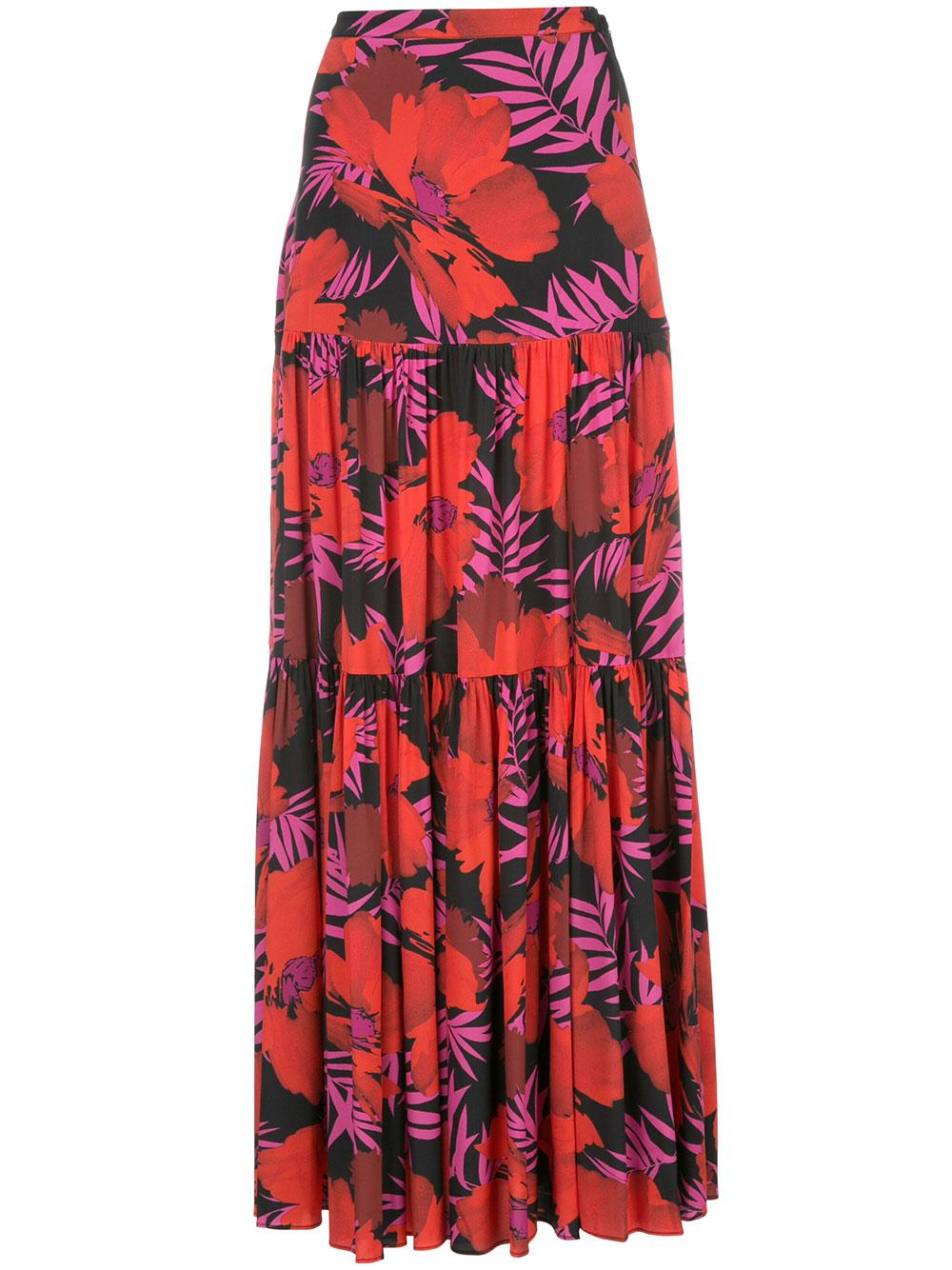 Serence Long Palm Print Tiered Skirt