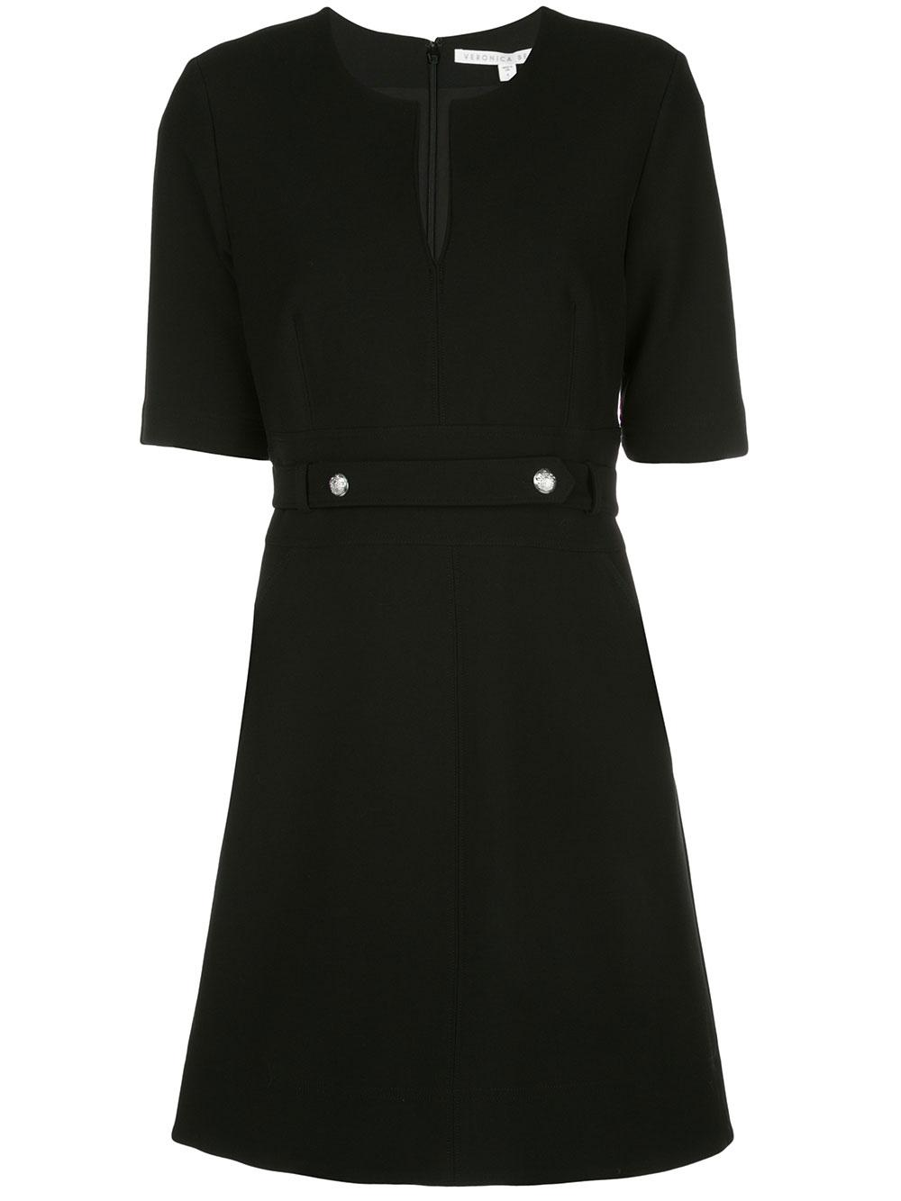 Carine Elbow Sleeve Dress With Notch Neck