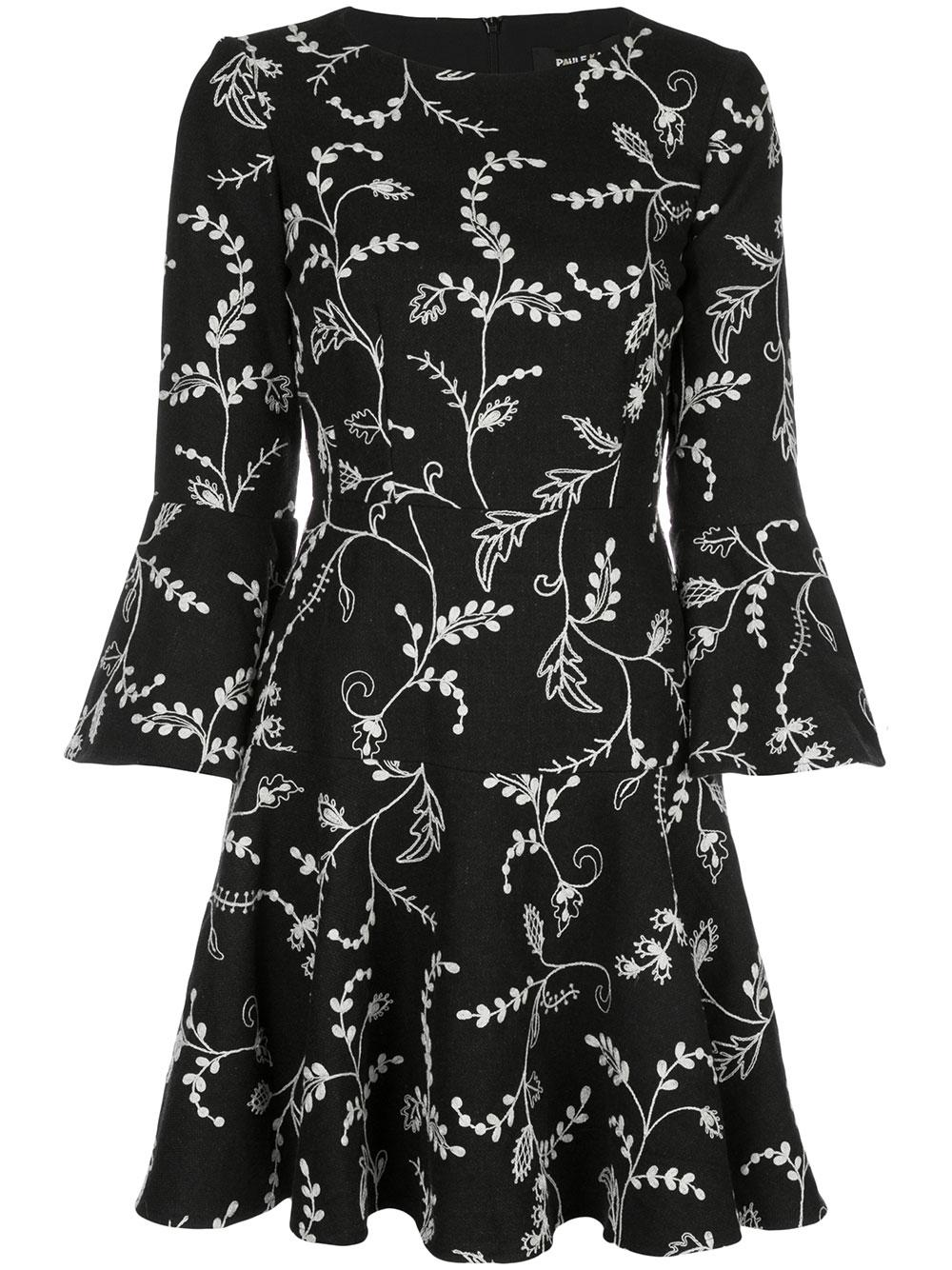 3/4 Sleeve Floral Print Dress With Ruffle Hem